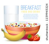 healthy breakfast with... | Shutterstock .eps vector #1159945324