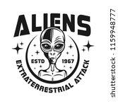 aliens vector emblem in vintage ... | Shutterstock .eps vector #1159948777