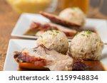 bavarian roasted pork with...   Shutterstock . vector #1159948834