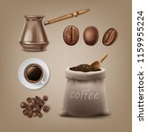 roasted black brown  coffee... | Shutterstock .eps vector #1159955224