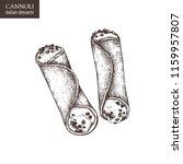 hand drawn cannoli illustration ... | Shutterstock .eps vector #1159957807