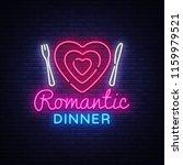 romantic dinner neon logo... | Shutterstock .eps vector #1159979521