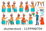 old woman poses set vector.... | Shutterstock .eps vector #1159988704