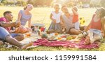 happy families doing picnic in... | Shutterstock . vector #1159991584