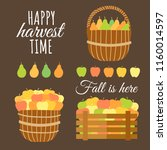 set of 2 wicker baskets and... | Shutterstock .eps vector #1160014597
