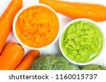 vegetable puree  carrots ...   Shutterstock . vector #1160015737