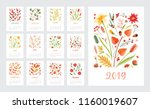 calendar for 2019 year. set of... | Shutterstock .eps vector #1160019607