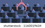 identical people sit at desks... | Shutterstock .eps vector #1160019634