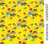 seamless pattern  happy family. | Shutterstock .eps vector #1160033347