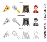 a pizza cutter  a slice  a menu ... | Shutterstock .eps vector #1160033911