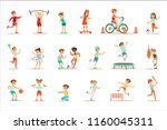 kids practicing different... | Shutterstock .eps vector #1160045311