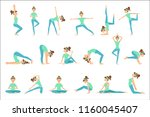 girl in blue training clothes... | Shutterstock .eps vector #1160045407