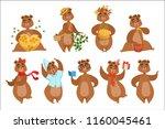 brown bear different activities ... | Shutterstock .eps vector #1160045461