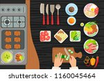 cafe grill cooking process... | Shutterstock .eps vector #1160045464
