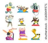 cute animals wearing uniform... | Shutterstock .eps vector #1160049571