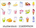 different dairy products... | Shutterstock .eps vector #1160049634
