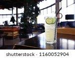 lemonade in glass cafe   fresh... | Shutterstock . vector #1160052904
