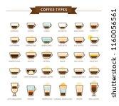 types of coffee vector... | Shutterstock .eps vector #1160056561