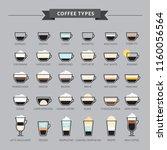types of coffee vector... | Shutterstock .eps vector #1160056564