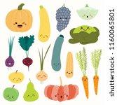 Big Set Of Cute Funny Fruits...