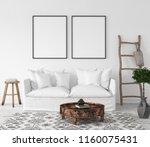 mock up poster frame in living... | Shutterstock . vector #1160075431