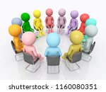 working group with 3d figures... | Shutterstock . vector #1160080351