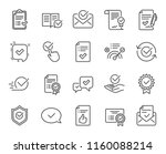 approve line icons. set of... | Shutterstock .eps vector #1160088214