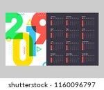 year 2019  calendar design. | Shutterstock .eps vector #1160096797