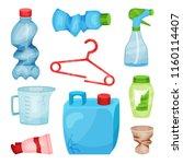 flat vector set of plastic... | Shutterstock .eps vector #1160114407
