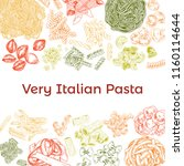 colored hand drawn pasta... | Shutterstock .eps vector #1160114644