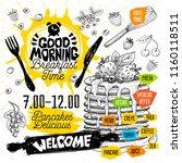 good morning breakfast time... | Shutterstock .eps vector #1160118511