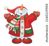 vector happy snowman cartoon    ...   Shutterstock .eps vector #1160119504