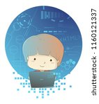 illustration of a kid boy with... | Shutterstock .eps vector #1160121337