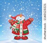 vector happy snowman  and... | Shutterstock .eps vector #1160123221