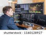 businessman trading stocks.... | Shutterstock . vector #1160128927