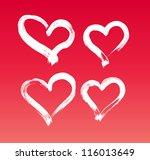 vector hand painted hearts... | Shutterstock .eps vector #116013649