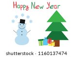 snowman and firtree new year... | Shutterstock .eps vector #1160137474