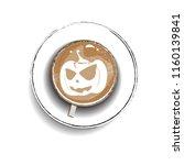 coffee cup design for halloween ... | Shutterstock .eps vector #1160139841