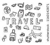 vector doodle sketch of travel... | Shutterstock .eps vector #1160142871