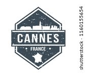 cannes france travel stamp icon ... | Shutterstock .eps vector #1160155654