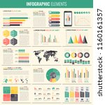 infographic elements with world ... | Shutterstock .eps vector #1160161357