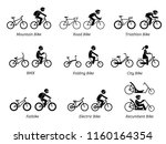 type of bicycles and riders.... | Shutterstock .eps vector #1160164354