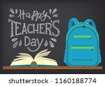 happy teachers day. blue school ... | Shutterstock .eps vector #1160188774