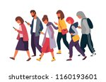 man and woman characters using... | Shutterstock .eps vector #1160193601