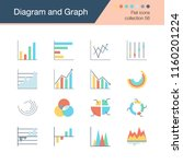 diagram and graph icons. flat... | Shutterstock .eps vector #1160201224