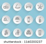 fathers day web icons on light... | Shutterstock .eps vector #1160203237