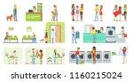 clients visiting veterinary... | Shutterstock .eps vector #1160215024