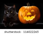 Halloween Pumpkin And Black Ca...