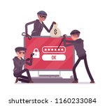 password hacking danger. masked ... | Shutterstock .eps vector #1160233084