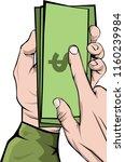hand grabbing money vector  man ... | Shutterstock .eps vector #1160239984